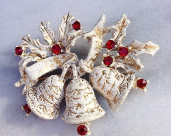 Vintage Dodd Bells Brooch White and Gold with Red Stones Marked