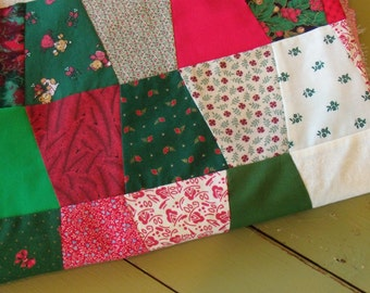 """New. Cotton. Christmas. Quilt Top. 60x85"""". Christmas Fabrics. Tumbler. Handmade. Red and Greens."""