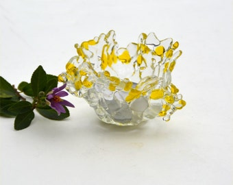 Fused glass candle holder, tea light, votive, transparent, yellow, clear