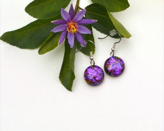 152 Fused glass dichroic earrings, round, pink blue purple red