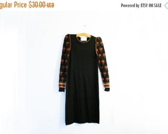 BLACK FRIDAY CLEARANCE vintage 70s Autumn Trees Little Black Sweater Dress - S/M