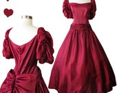 Vintage 80s Dress // Burgundy Wine Puff Sleeve Ball Gown Back BIG Bow XL Full Skirt Long Maxi Length Victorian Prom Party Xmas Holiday NYE