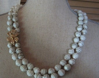 Vintage Double Strand White and Striped Beaded Necklace