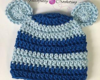 Newborn bear beanie... royal blue and baby blue.. photography prop.. ready to ship.. newborn boy beanie