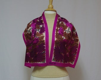 Vintage Vera scarf Sumi-e Brush floral scarf Mimosa flowers Vera long scarf Vera Neumann scarf