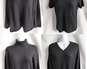 100% Cashmere Sweaters Lot of 4 Black Craft Cutters recycled C2194