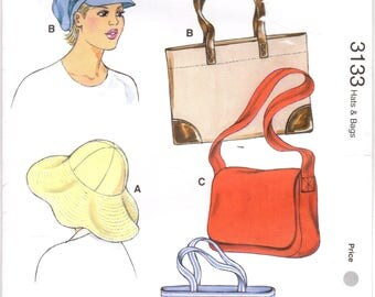 Kwik Sew 3133 UNCUT Sewing Pattern Hats and Bags, Newsboy Hat, Floppy Brim Hat, Shoulder Bag, Tote Bag, Shopping Bag
