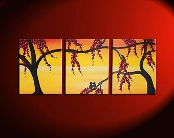 Yellow Sunset Painting with Love Birds in Berry Tree Orange Wall Art Home Decor Triptych Accent Size 24x10 Mails Quickly