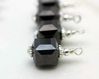 Jet Black Square Cube Crystal Earring Dangle, Pendant, Earrings, Jewelry Making