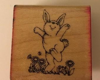 Vintage Hero Arts Wood Mounted Rubber Stamp. Bunny