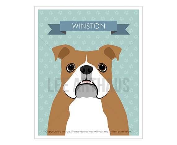 1N Personalized Pet Print - Personalized English Bulldog Wall Art - Pet Portrait - English Bulldog Print - Customized Dog Lover Gift Decor