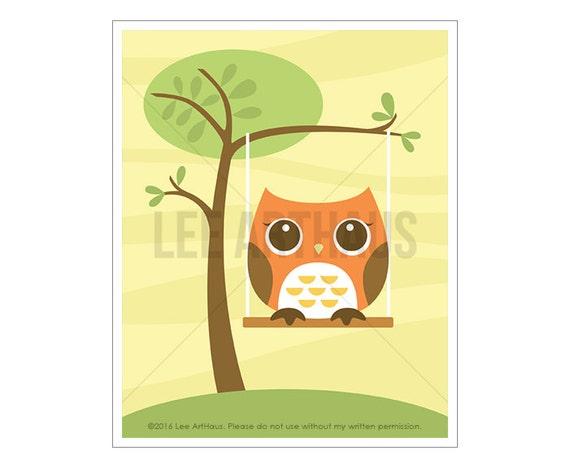 11A Owl Wall Art - Owl on Swing Wall Art - Owl Print - Owl Home Decor - Owl Poster - Woodland Nursery Decor - Owl Gift - Woodland Owl Print