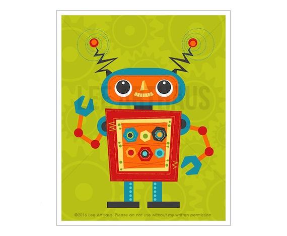 Robot Wall Art - Robot 4 Wall Art - Baby Boy Nursery Wall Art - Robot Print - Robot Nursery Art - Robot Illustration - Robot Baby Wall Art