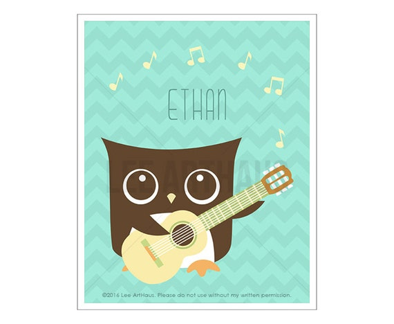114P Owl Nursery Print - Personalized Owl Playing Guitar Wall Art - Custom Name Baby Boy Wall Art - Personalized Baby Boy Art - Guitar Print