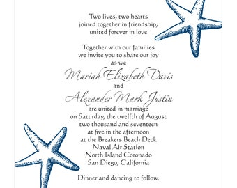 Starfish Invitations-for beach wedding