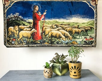vintage tapestry rug - Jesus Shepherd woven textile kitsch wall hanging - blue red