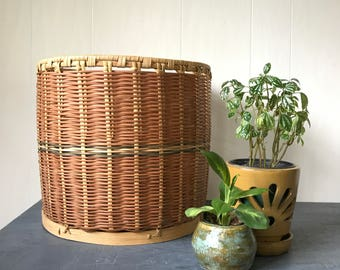 large rattan basket - round woven bamboo home storage - brown decor