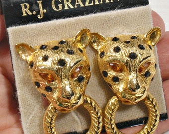 RJ Graciano Leopard Earrings Vintage Door Knockers Clip on Card