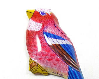 60's Tin Toy BIRD brooch, Metal lithograph costume jewelry, made in Japan.