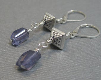 Iolite faceted earrings with sterling silver, wrapped natural iolite pear faceted dangle earrings