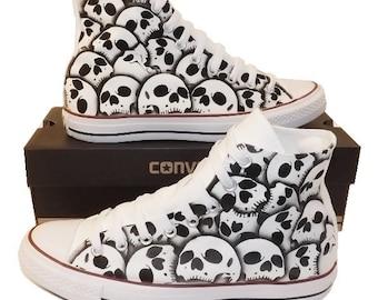 Shoes unique Converse Skull shoes Men's US size 9