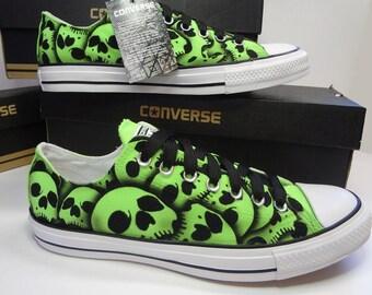 Skull shoes green Converse hand painted RokGear Skull design SALE US Men's size 9 - Unisex US Women's size 11