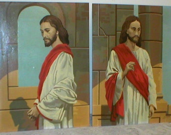Jesus Paint By Number Pair Christ Oil Painting Pictures 12X16 Vintage 1960s