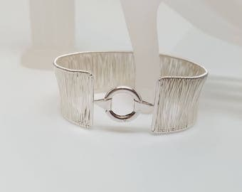 Discreet Slave Cuff Hand Woven Sterling Silver with Sterling O carabiner style clasp