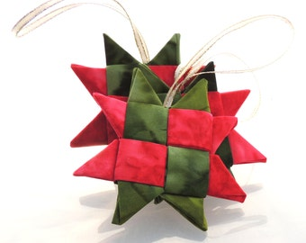 Batik Folded Fabric Star Ornament