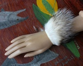 Fur bracelet - real American badger fur and leather bracelet or anklet