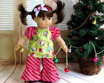 Christmas Top and Ruffle Pants, Sparkly Headband, 15 inch Doll Clothes, Peasant Top and Striped Pants, Babydoll Outfit