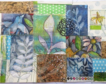Back to the Garden ~ an original stitched collage on paper