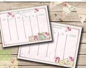 SALE Weekly Planner No. 1 Printable Digital Images -printable planner- Digital weekly planner Sheet- weekly planner - shabby chic planner