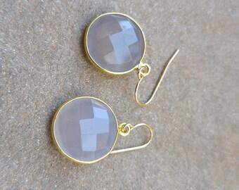 Gold Plated Sterling Bezelled Moonstone Gemstone Earrings