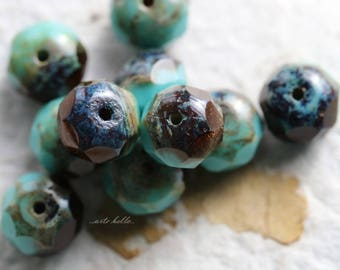 TOPAZ TURQUOISE No. 2 .. NEW 10 Premium Picasso Czech Rondelle Beads 6x9mm (5719-10)