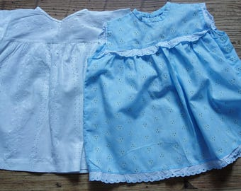 two vintage baby dresses one white one blue age 6 months