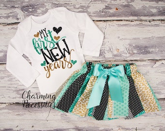 New Years Eve Baby Girl Outfit, Tutu Skirt Glitter Top Set, Toddler Clothes, My First New Years Aqua Gold Black Glitter