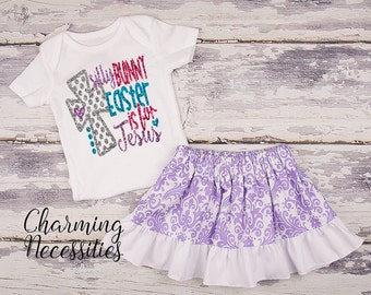 Baby Girl Easter Outfit, Baby Girl Clothes, Toddler Girl Clothes, Glitter Top Ruffled Twirl Skirt, Silly Bunny Easter is for Jesus Lavender