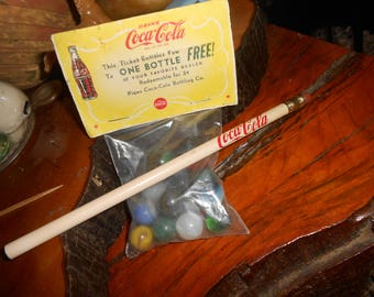 Vintage Coca-Cola Sack of Marbles and  Pencil