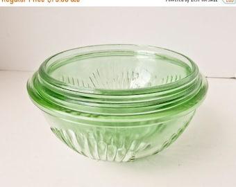 Sale Depression Glass Mixing Bowl Set 3 Bowls Vaseline Green