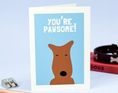 You're Pawsome Valentine's Card - Dog Valentine Card - Terrier Card - Dog Card - Welsh Terrier - Airedale Terrier