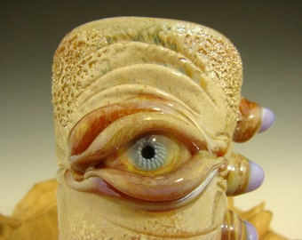 Hand blown Shot Glass Flameworked Art Freaky Monster eye by Eli Mazet (ready to ship) Beige w/ purple