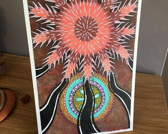 Crown of Thorns Seastar as Totem - Original Art