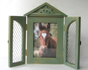 Photo Frame Country Distressed Casual Farmhouse with Hinged Doors
