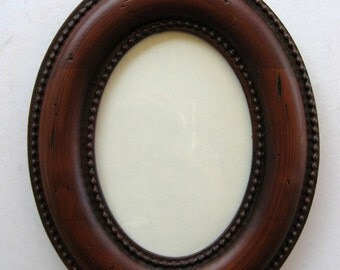 Oval Distressed Wood Picture Frame with Glass and Backing