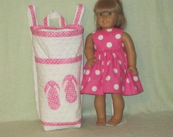 18 Inch Doll Carrier Back Pack Style Pink Polka Dot Flip Flops