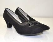 Vintage 40s Black Pumps | The Tuxedo Heels | Locke | Size 6.5