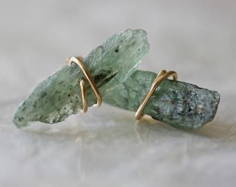 Raw Crystal Earrings, Green Kyanite Earrings, Stud Earrings, Tiny Earrings, Crystal Point Earrings