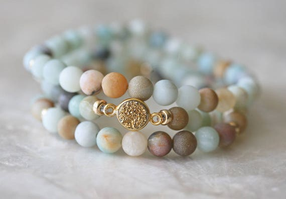 Druzy Bracelet, Amazonite Bracelet, Stretch Bracelet, Stacking Bracelet, Beaded Bracelet, Layered Bracelet, Matt Amazonite Bracelet