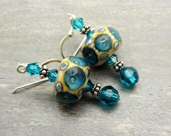 Lampwork Earrings Bubble Bead Turquoise and Ivory Earrings Glass Bead Earrings Dangle Drop Earrings Handmade Earrings SRAJD USA Handmade